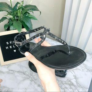 Steve Madden | Studded Black Jelly T-Strap Sandals